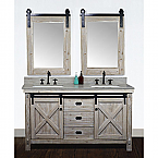 60 Inch Rustic Solid Fir Barn Door Style Double Sinks Vanity With Top Options -Driftwood finish