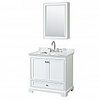 36 inch Transitional White Finish Bathroom Vanity Set