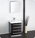 "24"" Black Modern Bathroom Vanity with Faucet, Medicine Cabinet and Linen Side Cabinet Options"