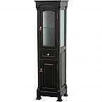 Traditional Linen Bathroom Cabinet Black Finish