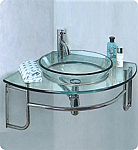 "24"" Corner Mount Modern Glass Bathroom Vanity in Faucet Option"
