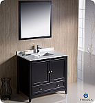 "36"" Espresso Traditional Bathroom Vanity with Top, Sink, Faucet and Linen Cabinet Option"