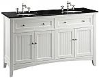 Adelina 60 inch Cottage White Double Sink Bathroom Vanity