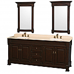 "Andover 80"" Double Bathroom Vanity in Dark Cherry, Undermount Oval Sinks, and 28"" Mirrors with Countertop Options"
