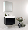 "Fresca Nano 24"" Black Modern Bathroom Vanity with Faucet, Medicine Cabinet and Linen Side Cabinet Option"