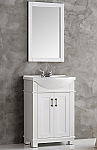 24 inch White Finish Transitional Bathroom Vanity