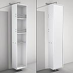 Rotating Floor Linen Cabinet White Finish with Mirror