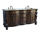 Adelina 72 inch Antique Double Bathroom Vanity Cream Marble Top