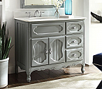 42 inch Adelina Antique Cottage Bathroom Vanity Grey Finish White Marble Countertop