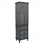 Rustic Linen Cabinet Gray Oak Finish, Floor-standing Linen Tower