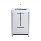 "Modern Lux 24"" High Gloss White Modern Bathroom Vanity with White Quartz Counter-Top"