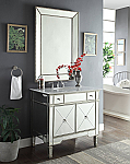 36 inch Adelina Mirrored Silver Bathroom Vanity White Marble Top