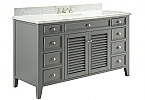 Adelina 60 inch Cottage Grey Finish Bathroom Vanity Italian Carrara Marble Top