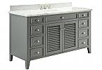 Adelina 60 inch Cottage Grey Finish Bathroom Vanity Italian Carrara Marble Top