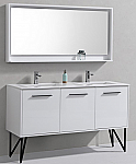 60 inch High Gloss White Double Sink Bathroom Vanity with Quartz Top and Matching Mirror