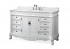 "Adelina 56"" Collection Antique White Bathroom Sink Vanity"