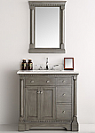 37 inch Antique Silver Bathroom Vanity with Mirror Carrera Marble Top