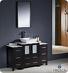 "48"" Espresso Modern Bathroom Vanity Vessel Sink with Faucet and Linen Side Cabinet Option"