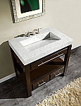 Accord Contemporary 36 inch Bathroom Vanity Espresso Finish Carrara Marble Top