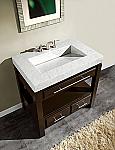 Art Silkroad 36 inch Bathroom Vanity Espresso Finish Carrara Marble Top