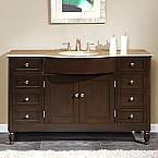 Accord 58 inch Traditional Bathroom Vanity Walnut Finish