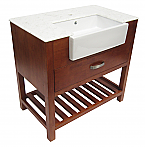 Alfi 36 inch Golden Oak Single Sink Bathroom Vanity Set