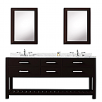 Cadale 60 inch Espresso Double Sink Bathroom Vanity Two Mirrors
