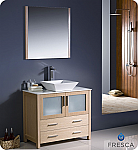 "36"" Light Oak Modern Bathroom Vanity Vessel Sink with Faucet and Linen Side Cabinet"