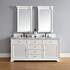 Abstron 72 inch Double Sink Bathroom Vanity Cottage White Finish, No Top