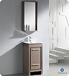 "16"" Small Modern Bathroom Vanity Grey Oak Finish"