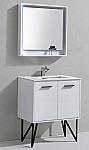 "Modern Lux 30"" High Gloss White Bathroom Vanity w/ Quartz Countertop and Matching Mirror"