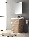 25 inch Modern Bathroom Vanity White Oak Finish