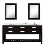 Cadale 72 inch Espresso Double Sink Bathroom Vanity Two Mirrors