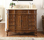 "Adelina 42"" Walnut Brown Antique Bathroom Vanity with Cream Marble Top"