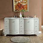 72 inch Double Sink Contemporary Bathroom Vanity White Finish Marble Top