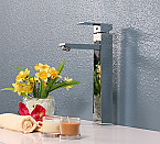 Chrome Polished Tall Single Hole Square Faucet