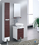 "16"" Dark Walnut Modern Bathroom Vanity with Faucet, Mirror, Medicine Cabinet and Linen Side Cabinet Option"
