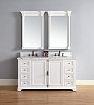 "James Martin Providence Collection 60"" Doulbe Vanity Cabinet, Cottage White"
