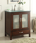 Adelina 30 inch Modern Glass Top Bathroom Vanity