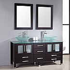 "71"" Solid Wood & Glass Double Vessel Sink Vanity Set with Polished Chrome Faucets"
