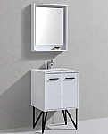 "Modern Lux 24"" Gloss White Bathroom Vanity w/ Quartz Countertop and Matching Mirror"