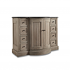 "48"" Reclaimed Pine Single Bowed Front Vanity with Blue Stone Top Wash Finish"