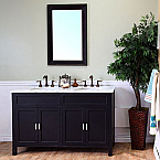 Bella 60 inch Ebony Double Sink Bathroom Vanity