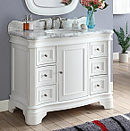 "Adelina 42 "" Traditional White Vanity with Carrara Marble Top"