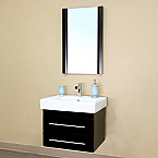 Bella 24 inch Black Finish Bathroom Vanity White Ceramic Countertop