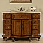Accord 48 inch Antique Single Walnut Sink Bathroom Vanity