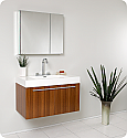 "36"" Teak Modern Bathroom Vanity with Faucet, Medicine Cabinet and Linen Side Cabinet Option"