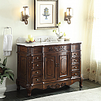"Adelina 56"" Antique Style Bathroom Vanity, Fully Assembled, White Marble Counter Top"