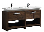 "Modern Lux 63"" Rose Wood Modern Bathroom Vanity w/ Cubby Hole"