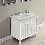 36 inch Transitional Bathroom Vanity White Finish Carrara Marble Top